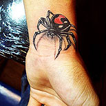 Spider tattoo on wrist