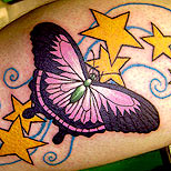 Stars and butterfly tattoo