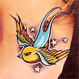 Stars and swallow tattoo