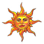 Yellow sun tattoo design