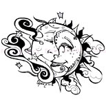 Sun and moon love tattoo design