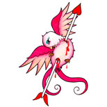 Pink swallow and arrow tattoo design