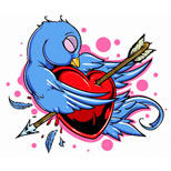 Swallow andpierced heart tattoo design