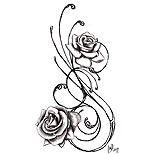 Swirly black rose tattoo design