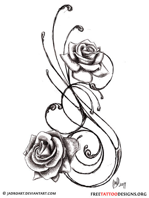 Hearts And Roses And Stars Drawings Black rose tattoos
