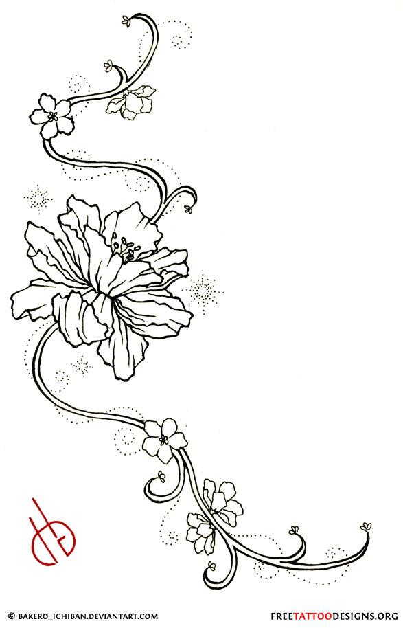 Design Star Swirl Flower Tattoo