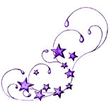 Swirly star tattoo (purple)