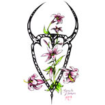 Taurus sign and flowers tattoo design