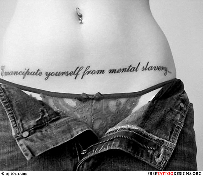 Girl With A Text Tattoo On Her Abdomen