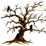 Crows in dead tree tattoo design