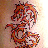 Tribal dragon rendered in flames