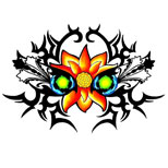 Tribal lotus tattoo design