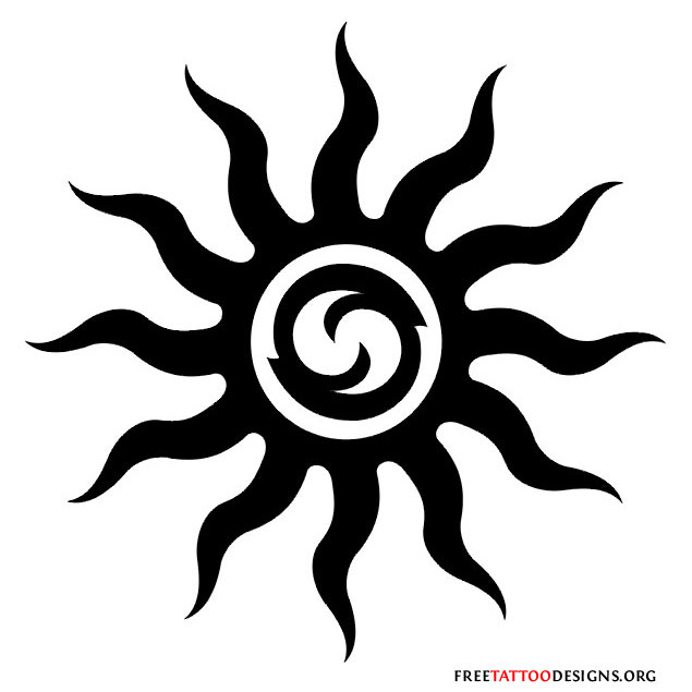 Tattoo Designs Sun: Tribal Sun Tattoo Designs