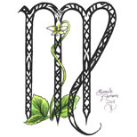 Virgo symbol and flower tattoo design