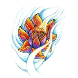 Lotus and water tattoo design