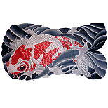 White and red koi tattoo design (in waves)