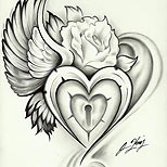 Winged heart, lock and rose tattoo design