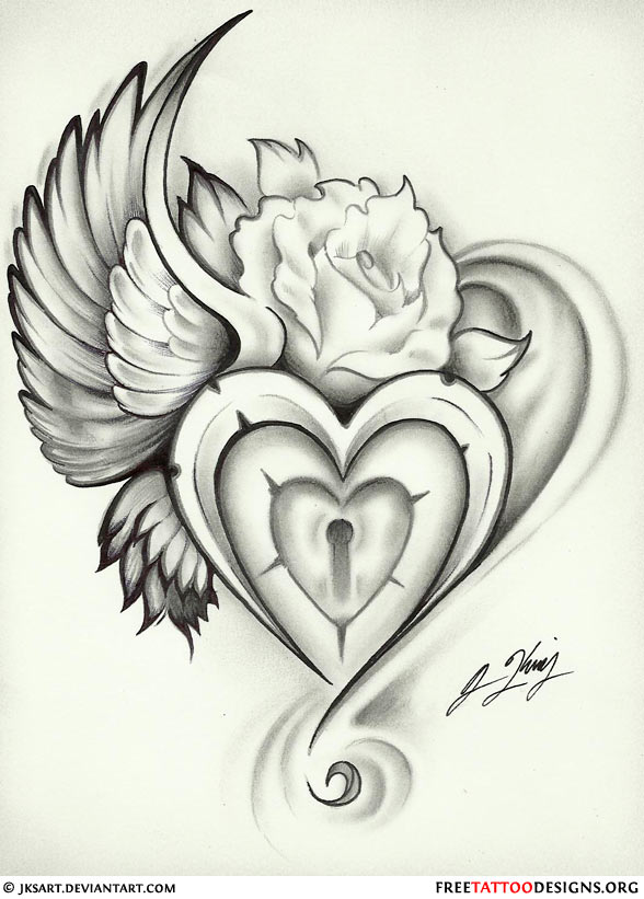 Winged Heart Lock And Rose Tattoo Design
