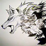 Wolf, crows and eagle tattoo design