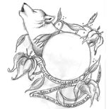 Wolf and flowers tattoo design