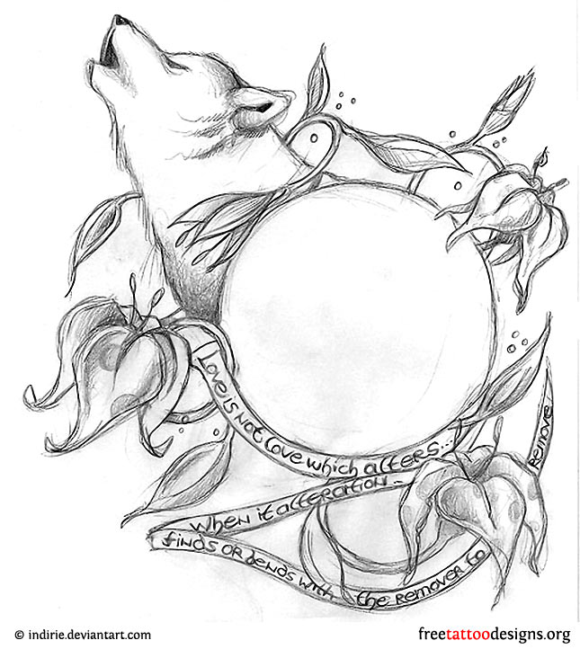 5646b0100 Wolf and flowers tattoo design ...