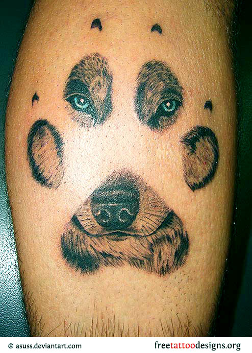 Kanji And Wolf Tattoo Of A Face Through Paw Print