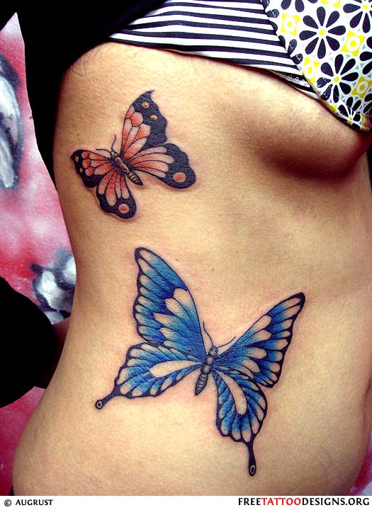 Woman with 2 butterfly tattoos on her side for Butterfly tattoos gallery