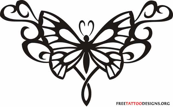 Typical tramp stamp butterfly tattoo
