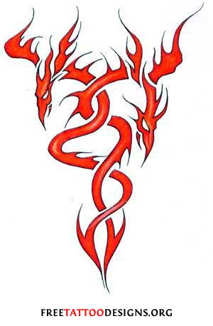 Tattoo design of 2 tribal flamed dragons