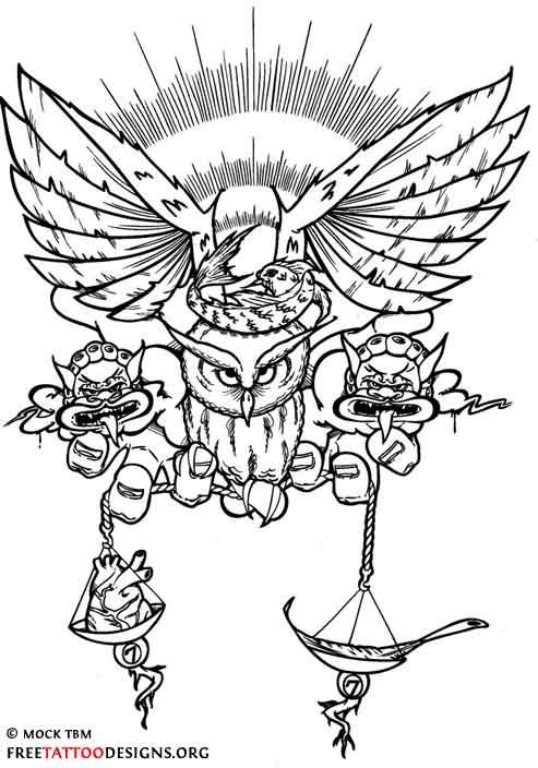 Unique libra tattoo (owl)