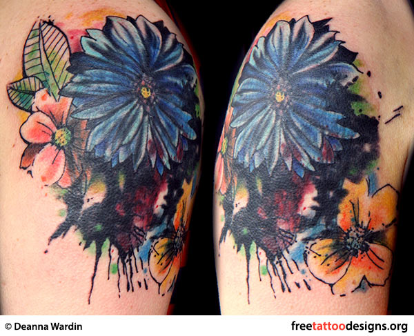 Watercolor flowers tattoo on arm