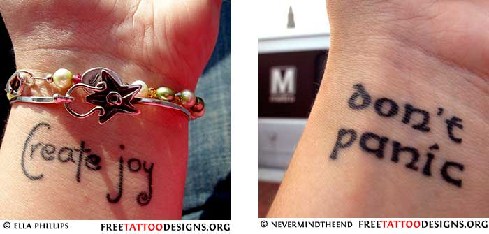Single words and quotes are popular as a wrist tattoo as well
